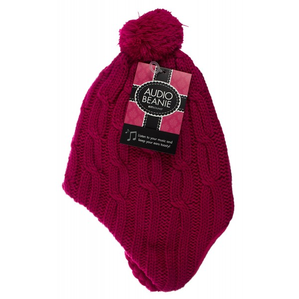 KitSound Audio Peruvian Cable Knit Beanie Hat with Pom Pom and Built-In  On-Ear Headphones in Pink QMR Shop 8b1ab471423