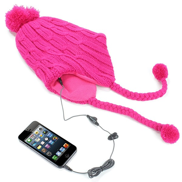 9c1bb282867 KitSound Audio Peruvian Cable Knit Beanie Hat with Pom Pom and Built-In On-Ear  Headphones in Pink QMR Shop
