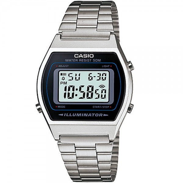Classic Digital Watch with Stainless Steel Band - Silver