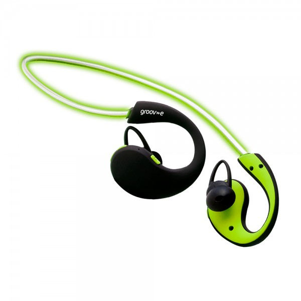 Action Wireless Bluetooth Sports Headphones with LED Neckband - Green