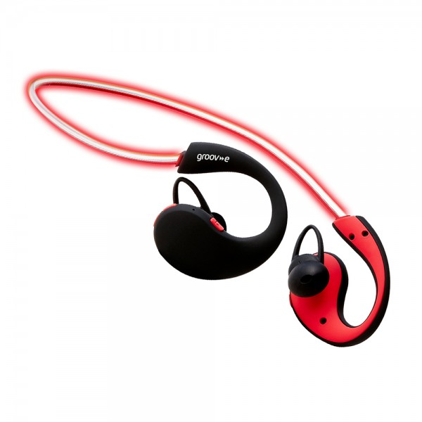 Action Wireless Bluetooth Sports Headphones with LED Neckband - Red
